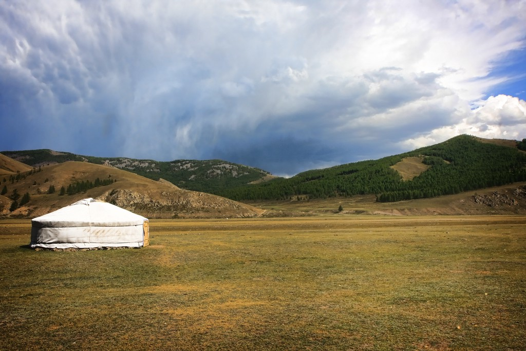 A storm approaches a ger in Terelj National Park