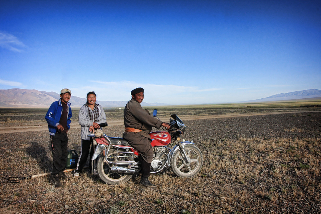 A family stops to make our acquaintance in Western Mongolia