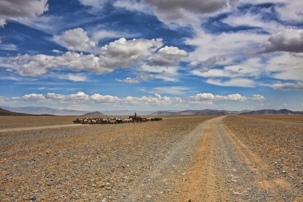 Central Mongolia herders crossing the road