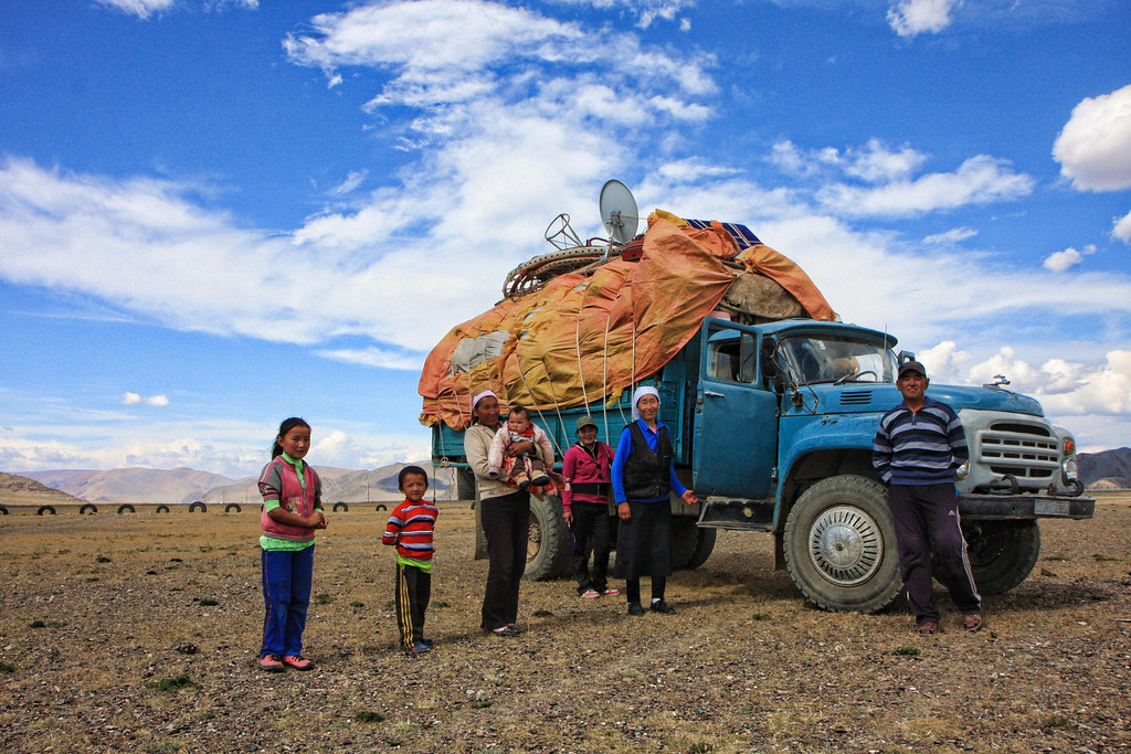 Nomadic family near Olgii moving their ger and it's contents to their winter destination